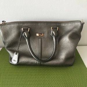 Cole Haan Silver Metallic Pebbled Leather Purse